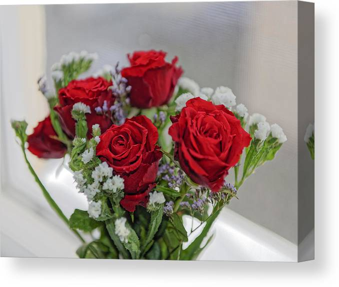 Anniversary Canvas Print featuring the photograph Bouquet of red roses with white carnations by Adrian Bud