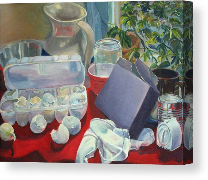 Still Life Canvas Print featuring the painting Breakfast Tablescape by Stephanie Allison