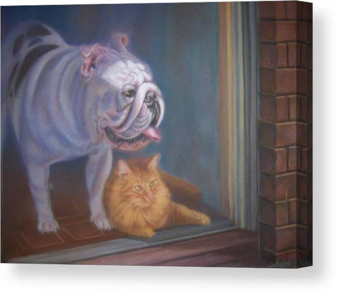 English Bulldogs Canvas Print featuring the painting Caesar and Lily by Diane Caudle