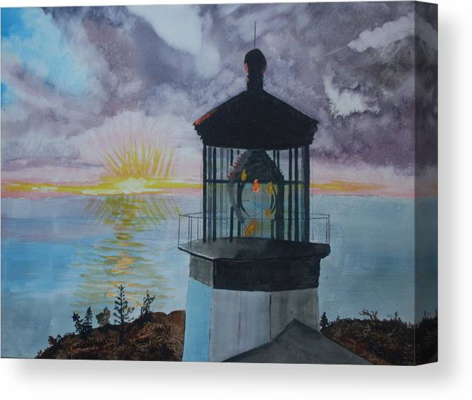 Lighthouse Canvas Print featuring the painting Cape Meares Lighthouse Oregon by Warren Thompson
