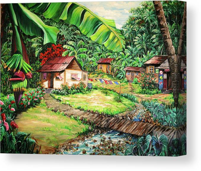 Tropical Canvas Print featuring the painting Caribbean Village Life by Karin Dawn Kelshall- Best