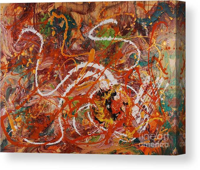 Orange Canvas Print featuring the painting Celebration II by Nadine Rippelmeyer