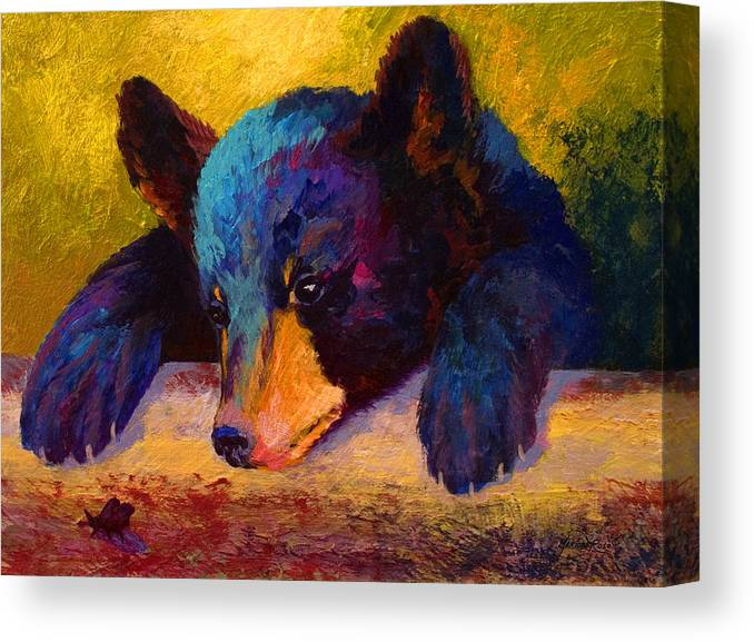 Bear Canvas Print featuring the painting Chasing Bugs - Black Bear Cub by Marion Rose