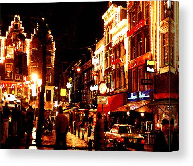 Night Canvas Print featuring the photograph Christmas in Amsterdam by Nancy Mueller