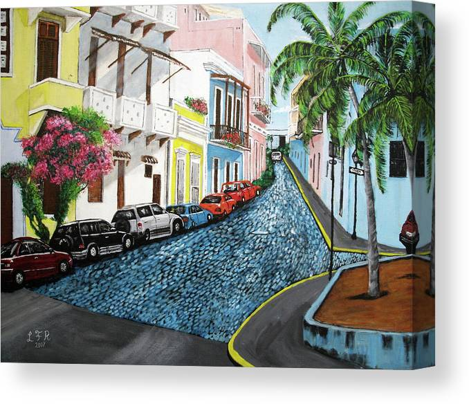 Old San Juan Canvas Print featuring the painting Colorful Old San Juan by Luis F Rodriguez