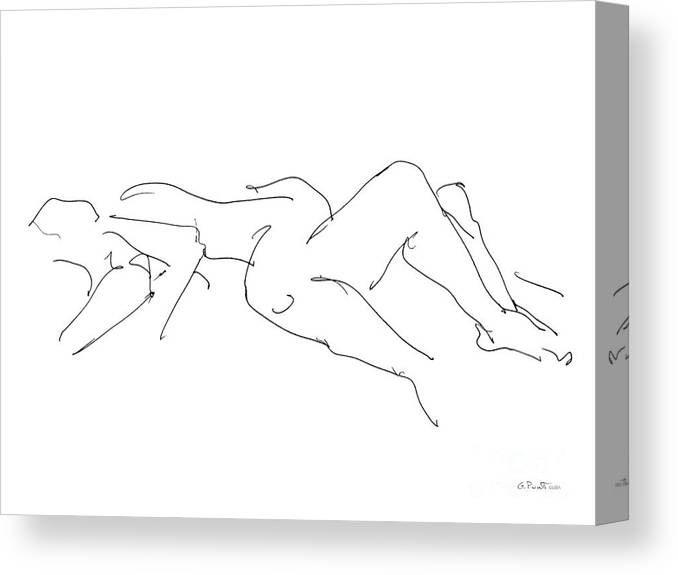 Couples Canvas Print featuring the drawing Couples Erotic Art 4 by Gordon Punt
