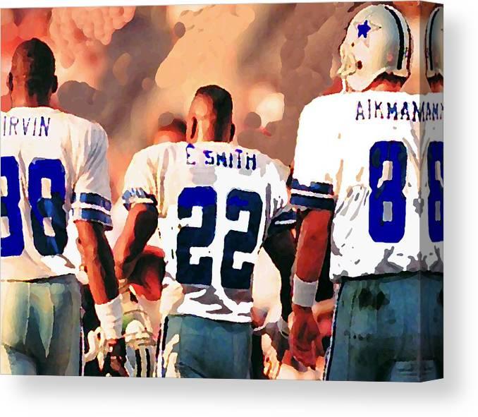 Dallas Cowboys Canvas Print featuring the mixed media Dallas Cowboys Triplets by Paul Van Scott