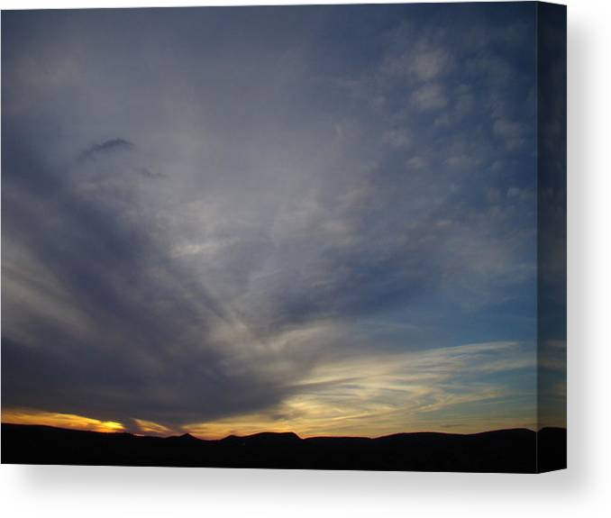 Dark Canvas Print featuring the photograph Dark Sunset Four by Ana Villaronga