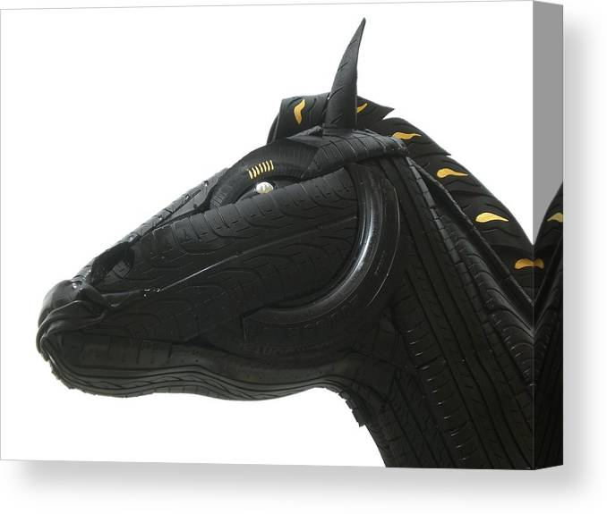 Horse Canvas Print featuring the sculpture Detail - Tire Horse by Mo Siakkou-Flodin