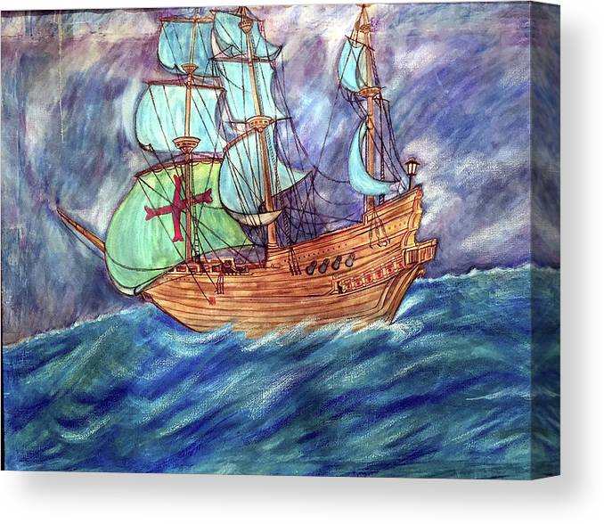 Seascape Canvas Print featuring the painting Discovery by Marco Morales
