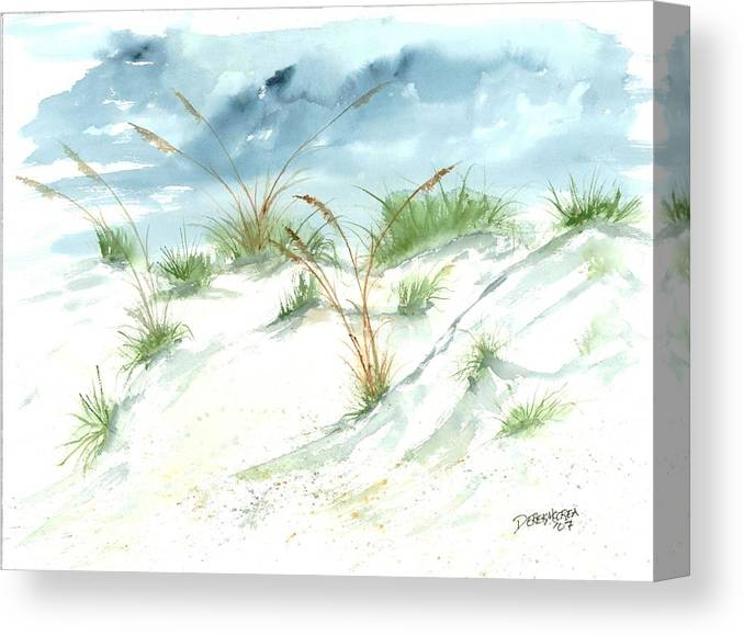 Beach Canvas Print featuring the painting Dunes 3 seascape beach painting print by Derek Mccrea