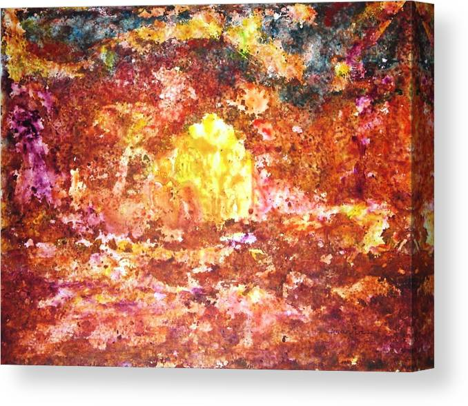 Abstract Color Yupo Paper Landscape Forest River Lava Lake Fire Earth Canvas Print featuring the painting Enchanted by Manjiri Kanvinde