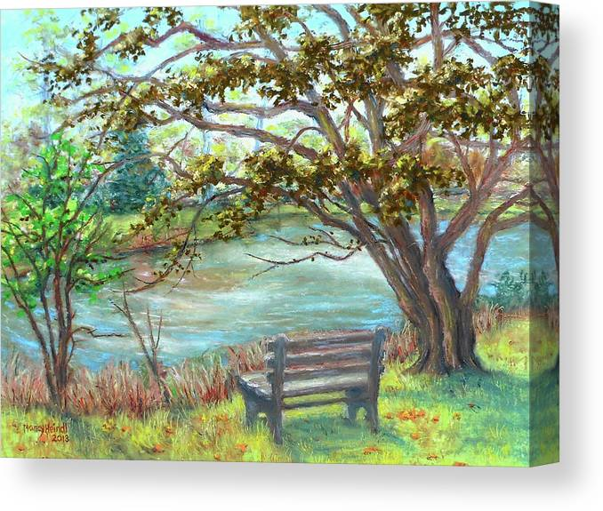 Framed Art Canvas Print featuring the painting Fallsmead Lake In Potomac Md by Nancy Heindl