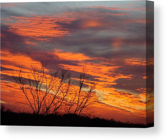 Red Canvas Print featuring the photograph Fire Sunrise by Ana Villaronga