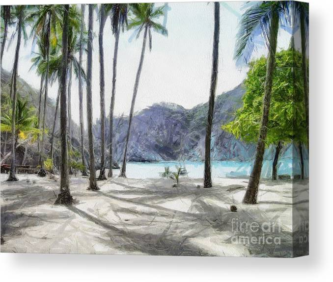 Landscape Canvas Print featuring the painting Florida beach by Murphy Elliott