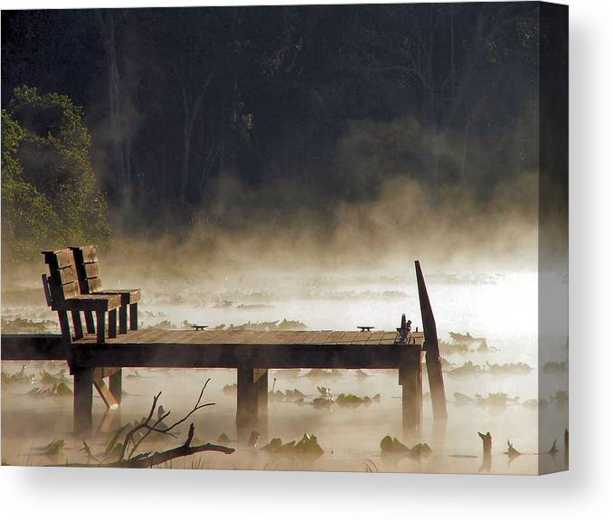 Water Canvas Print featuring the photograph Fog on Lake Jeffords by Judy Waller
