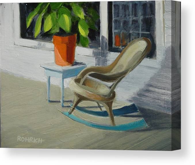 Wicker Canvas Print featuring the painting Front Porch Memories by Robert Rohrich