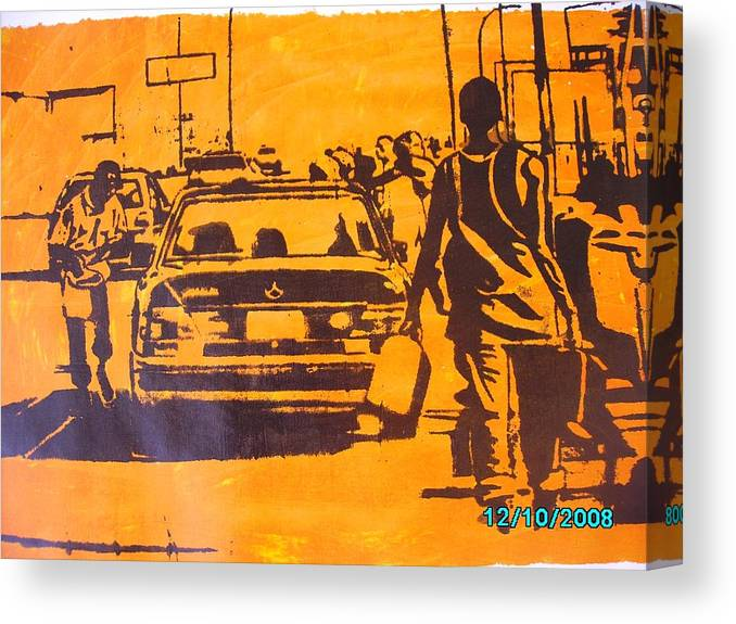 Fuel Scarcity Canvas Print featuring the mixed media Fuel Scarcity by Olaoluwa Smith