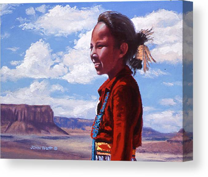 Navajo Indian Southwestern Monument Valley Canvas Print featuring the painting Futures Bright by John Watt