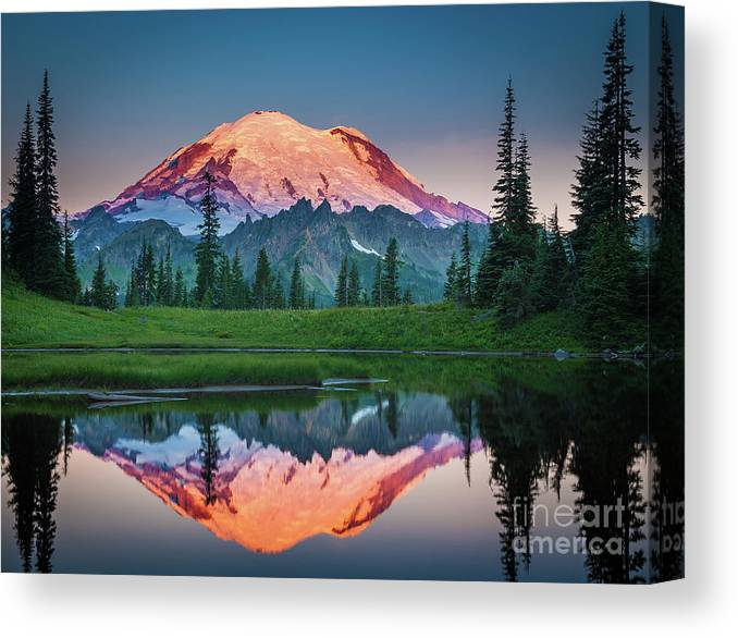 America Canvas Print featuring the photograph Glowing Peak - August by Inge Johnsson