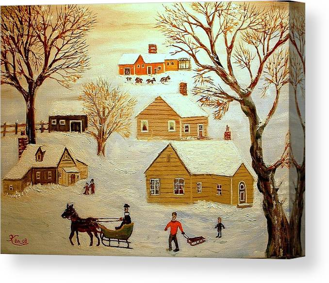 Landscape Winter Sledding Horses Canvas Print featuring the painting Going Sledding by Kenneth LePoidevin