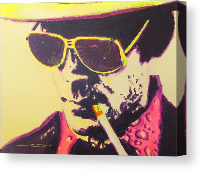 Hunter S. Thompson Canvas Print featuring the painting Gonzo - Hunter S. Thompson by Eric Dee