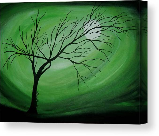 Abstract Canvas Print featuring the painting Green Night II by Linda Powell