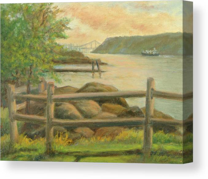 George Washington Bridge Canvas Print featuring the painting GWB from Hastings by Phyllis Tarlow
