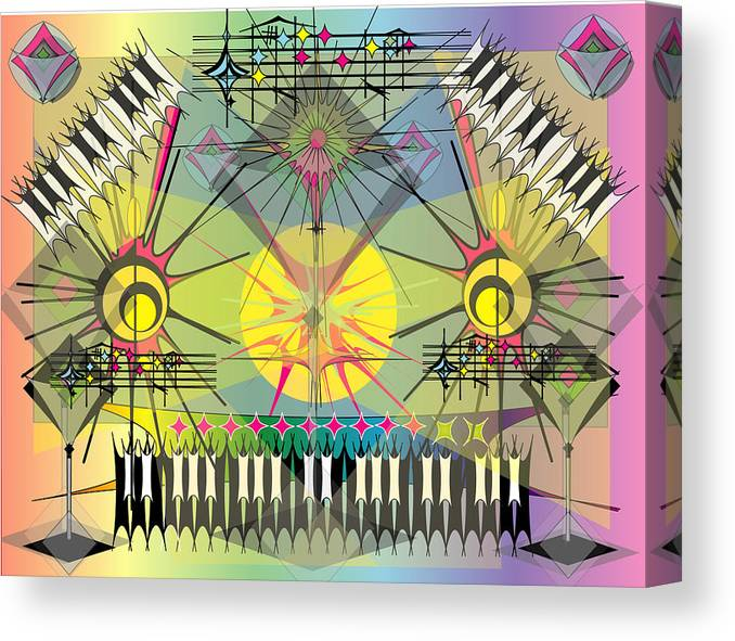 Music Canvas Print featuring the digital art Hapyhour Keyboards by George Pasini