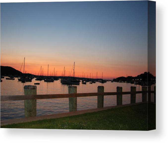 Northport Ny Canvas Print featuring the photograph Harbor at Dusk by SJ Lindahl