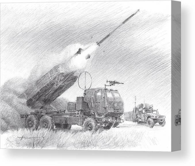 Www.miketheuer.com Himars Pencil Portrait Canvas Print featuring the drawing HIMARS pencil portrait by Mike Theuer