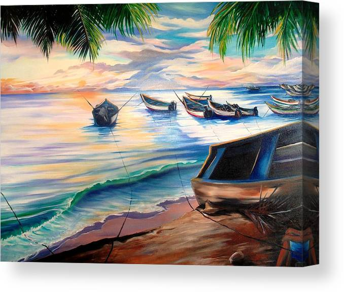 Ocean Painting Caribbean Painting Seascape Painting Beach Painting Fishing Boats Painting Sunset Painting Blue Palm Trees Fisherman Trinidad And Tobago Painting Tropical Painting Canvas Print featuring the painting Home From The Sea by Karin Dawn Kelshall- Best