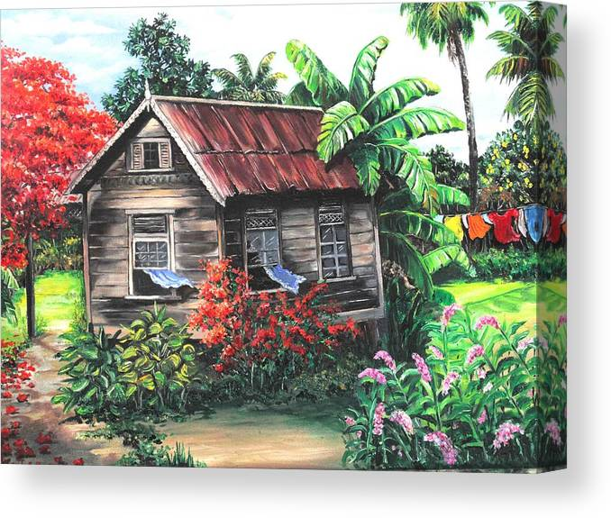 Caribbean House Canvas Print featuring the painting Home Sweet Home by Karin Dawn Kelshall- Best