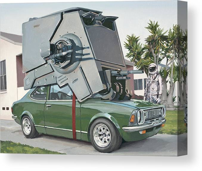 Astronaut Canvas Print featuring the painting Hybrid Vehicle by Scott Listfield