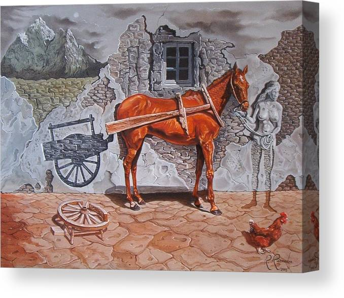 Surreal Canvas Print featuring the painting Illusion of Presence by Ramaz Razmadze