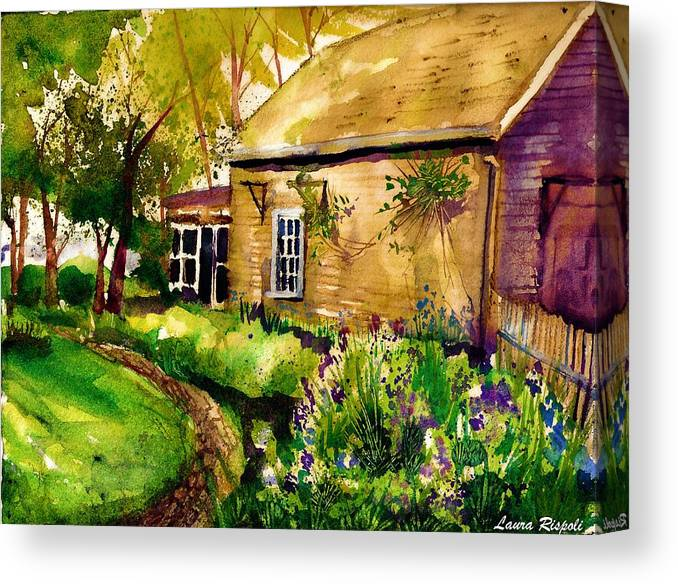 Garden Canvas Print featuring the painting In The Garden by Laura Rispoli