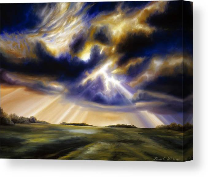 Sunrise; Sunset; Power; Glory; Cloudscape; Skyscape; Purple; Red; Blue; Stunning; Landscape; James C. Hill; James Christopher Hill; Jameshillgallery.com; Ocean; Lakes; Storms; Lightning; Rain; Rays; God Canvas Print featuring the painting Iowa Storms by James Christopher Hill