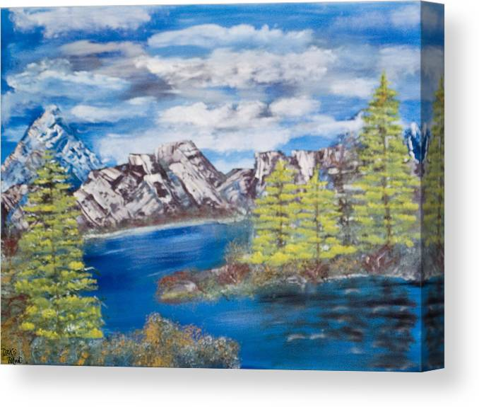 Wooded Landscape Canvas Print featuring the painting Island Cove by Mikki Alhart