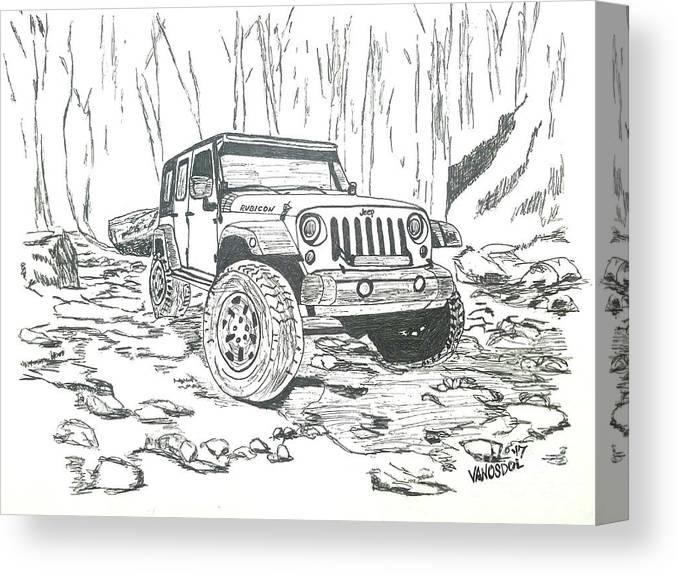 Vintage Jeep Collage ~ Pen /& Ink Print