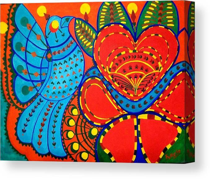 Contemporary Folk Canvas Print featuring the painting Jinga Bird - Jinga bird by Fareeha Khawaja
