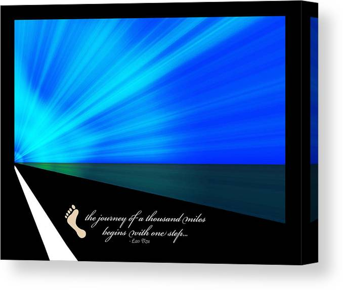 Taoism Canvas Print featuring the digital art Journey Of A Thousand Miles by Donna Proctor