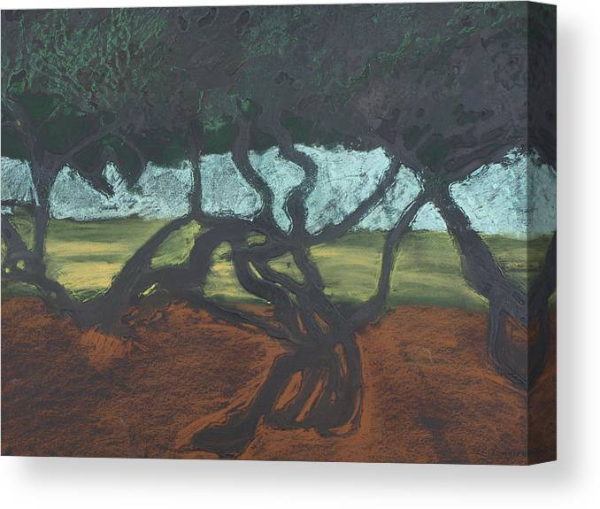 Contemporary Tree Landscape Canvas Print featuring the mixed media La Jolla II by Leah Tomaino