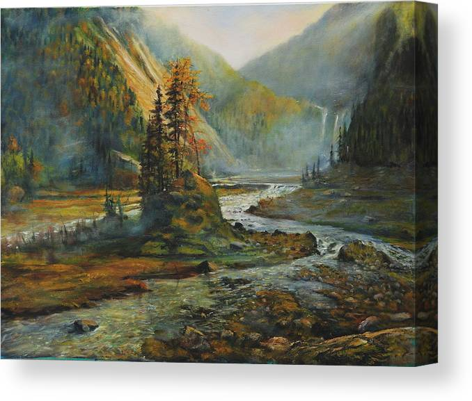 Landscape Canvas Print featuring the painting Light After The Storm by Craig shanti Mackinnon