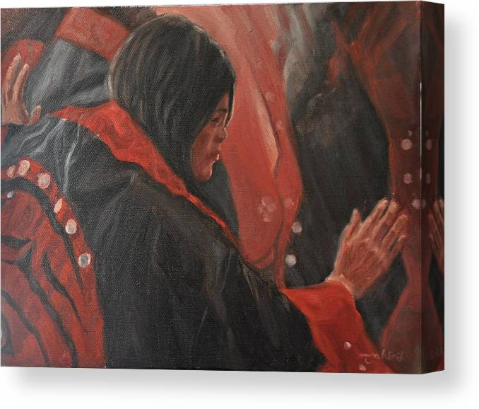 Native American Canvas Print featuring the painting Light Dancer by Tahirih Goffic