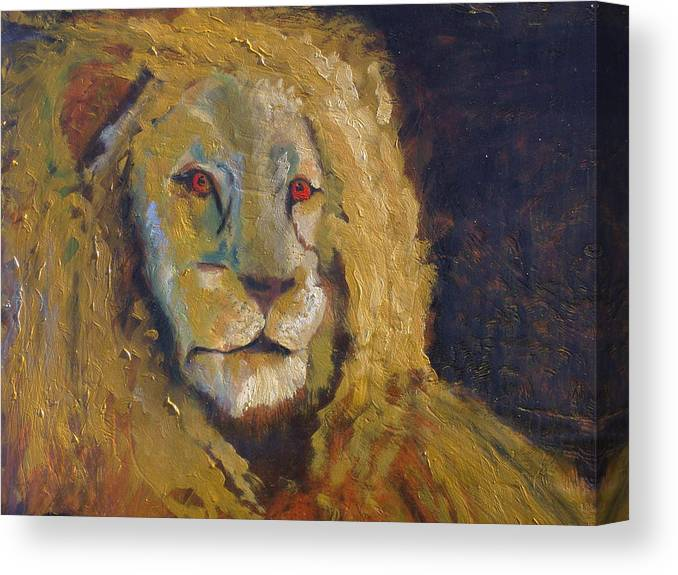 Lion Canvas Print featuring the painting Lion two by J Bauer