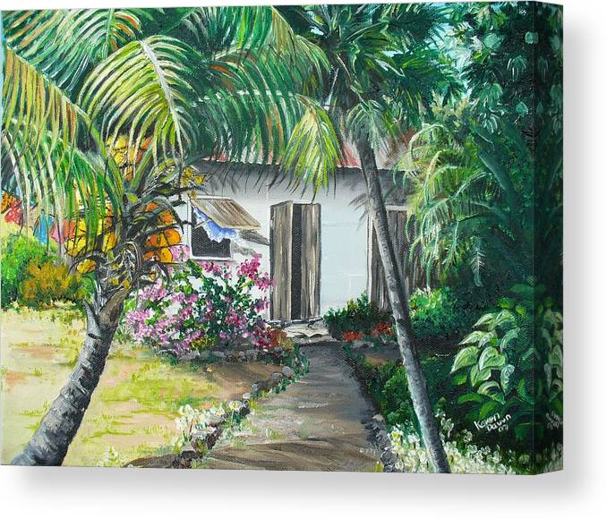 Caribbean Painting Typical Country House In Trinidad And The Islands With Coconut Tree Tropical Painting Canvas Print featuring the painting Little West Indian House 2...sold by Karin Dawn Kelshall- Best