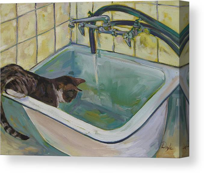 Cats Canvas Print featuring the painting Lucy Loves Water by Karen Doyle