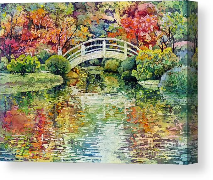 Moon Bridge Canvas Print featuring the painting Moon Bridge by Hailey E Herrera