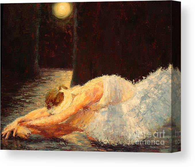 Ballerina (framed) Canvas Print featuring the painting Moonlight Ballet by Colleen Murphy