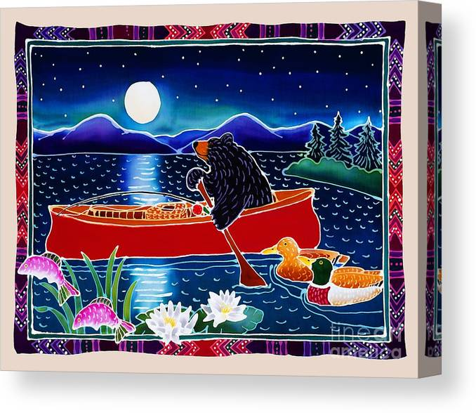 Whimsical Canvas Print featuring the painting Moonlight on a Red Canoe by Harriet Peck Taylor